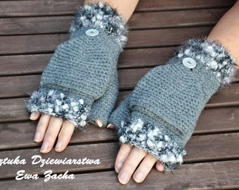 Grey Fingerless mittens with the flap , Crochet Mittens , gloves in handmade-warmers