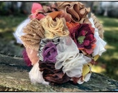 Upcycled Fall Fabric Bouquet - No Bling, Rustic, Shabby Chic