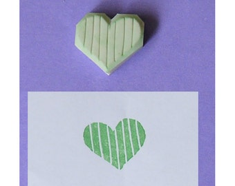 Small Heart Rubber Stamp, in strip - Wedding stamp, handcarved stamp, hand carved stamp, handmade stamp, love stamp, engagement stamp