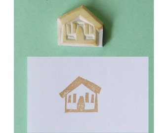 House hand carved rubber stamp, Building hand carved stamp, city handmade stamp, town handcarved stamp, village stamp