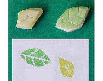 Leaf Hand Carved Rubber Stamp, set of 2 - Leaves hand carved rubber stamp, planting hand carved stamp, gardening handmade stamp