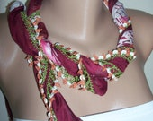 Gorgeous Turkish Traditional Yemeni-Oya,Floral Cotton Scarf Shawl Crochetpi