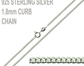 "925 Sterling Silver Curb Chain 16"" 18 20 22 24 26 28 30 32 34 36 38 40 Inch Long Sterling Silver Chain 1.8mm wide Curb Chain"