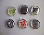 set of six retro style glass marble magnets