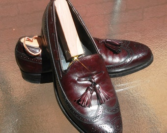 Mens Cordovan Tassel Brogue Loafers, E. T. Wright, Size 8C, Made in Italy, Vintage mens loafers, Classic mens shoes, Brogue Styling