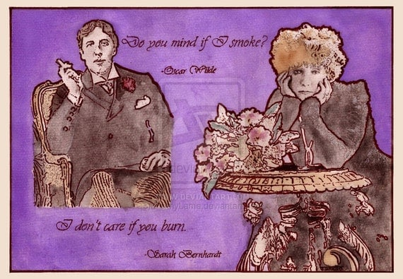 Oscar Wilde quote Poster Print reproduction of an original watercolour and coffee painting by Tuulia Tamminen - Size A3