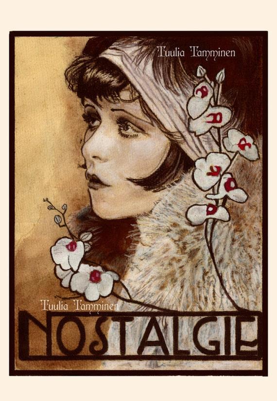 Fine art original Art Nouveau painting drawing mixed media - Nostalgie Nostalgia by Tuulia Tamminen