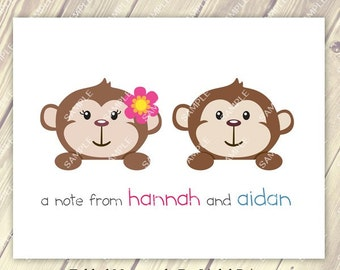 Brother Sister Sibling Twin Boy and Girl Monkey Note Cards Set of 10 personalized flat or folded cards