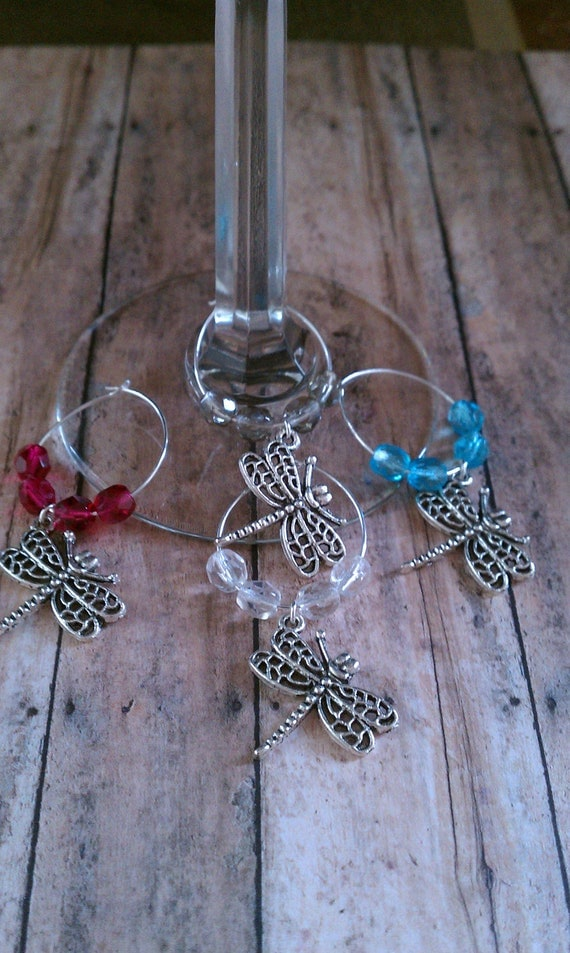 Dragonfly Glass Bead Wine Charms