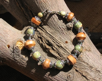 Sacred Apple and Rhyolite Bracelet with Sterling Accents