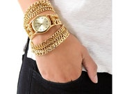 Gold or silver chain link watch