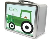 Personalized Lunchbox & Memory Box- Green Tractor Gifts for Boys