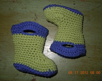 Wellington Style Booties. Crochet galoshes. Baby Booties. Boys or Girls. Soft Sole Shoes. Crochet Shoes. Baby shoes.