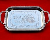 New Old Stock 80's Tray - Nickel Plated Steel Serving Tray with peacock design, TWIN BIRD Japan  TR21