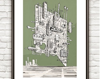 The Old Refinary II , Surrealism, architectural Drawing, Architecture sketch