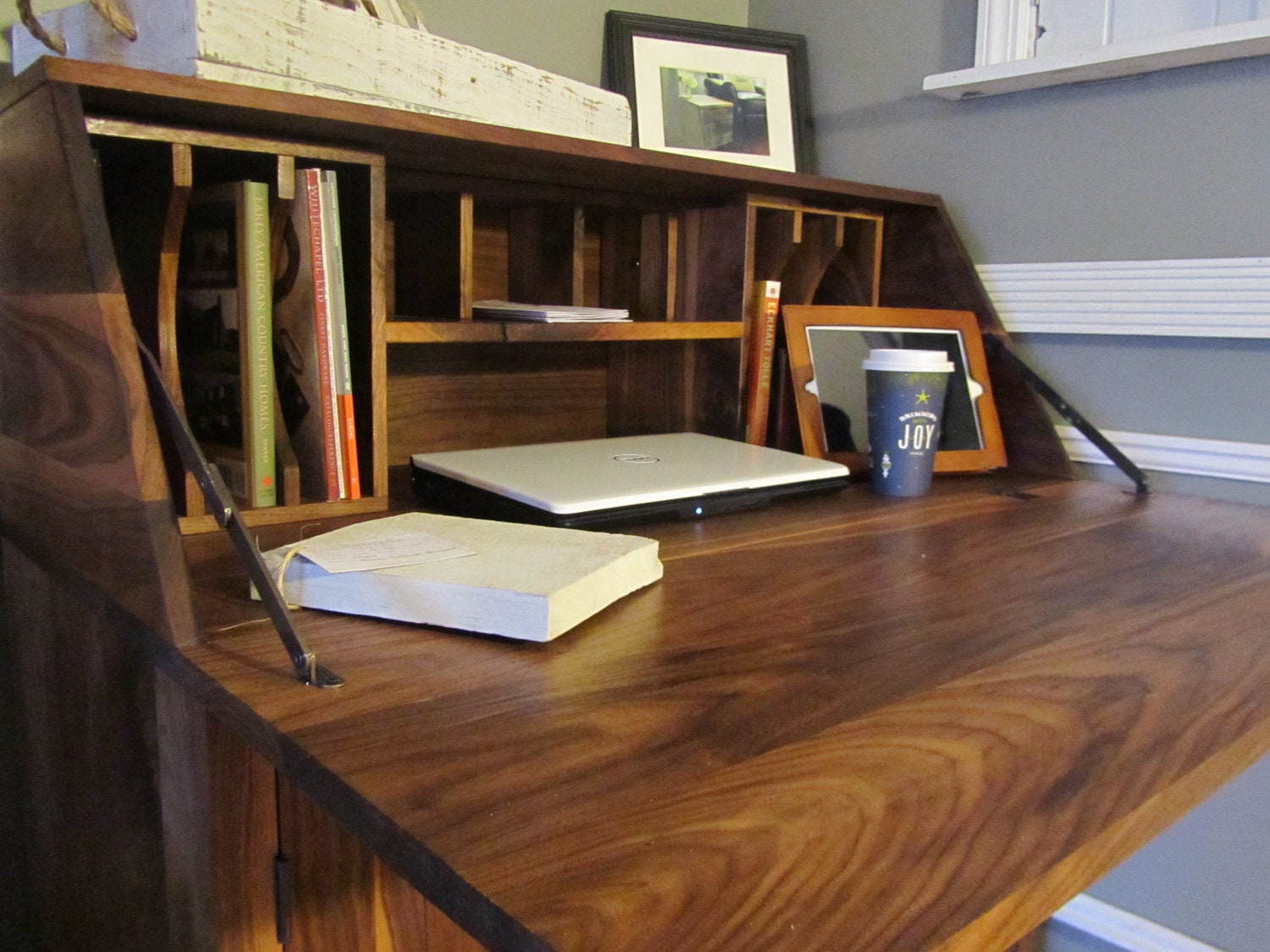 Black Walnut Drop Front Secretary Desk