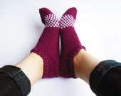 Knit woolen slippers, small women's size, plum purple socks with a white stripe, violet slippers