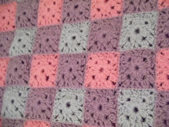 pink purple afghan blanket throw crocheted in squares, fancy edge stitches ready to ship from Quail Creek Creations