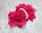 Hot pink chiffon pearl rosette - Pink fabric flower embellishment - Pink rosette