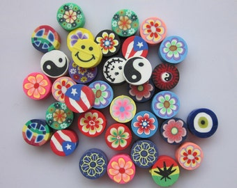 100 pcs Polymer Clay Cane Fimo Clay Slices Kawaii Mix Miniature Sweets Nail Deco Fimo Cane Nail Art Decoration