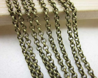 High Quality 16ft (5m) 2mm Antique Brass Necklace Chains/ Jewelry /Links /Flat Oval Chains