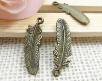 30pcs 9x30mm Antique Brass Feather Charms Pendant