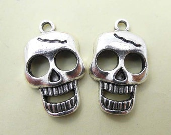 15pcs 15x25mm Antique Silver Skull Charms Pendant - Day of the dead