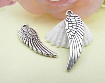 20pcs Antique Silver Angel Wing Charms Pendants  10x30mm
