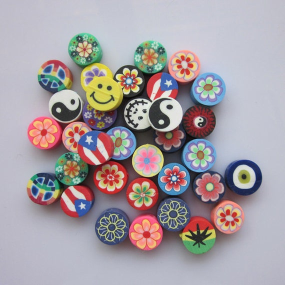 100 pcs polymer clay cane fimo clay slices kawaii mix like this item prinsesfo Choice Image
