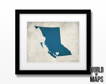 Canada - British Columbia Map Print - Home Town Love - Personalized Art Print