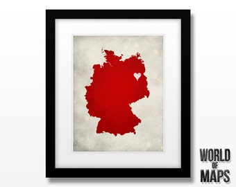 Germany Map Print - Home Town Love - Personalized Art Print Available in Different Sizes & Colors