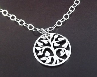Sterling Silver Necklace - Tree of Life Circle Pendant