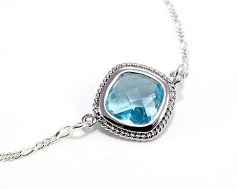 Sterling Silver Necklace  - Aquamarine Diamond Glass Pendant