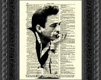 Johnny Cash, Dictionary Art Print, Dictionary Print, Home Decor, Wall Decor, Art Print