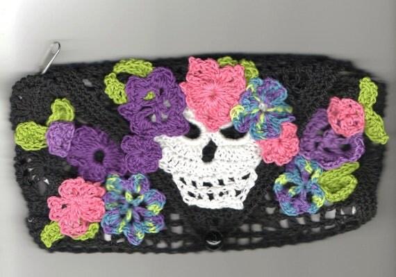 Crochet Day of the Dead Make Up Bag