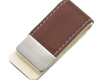 Personalized Brown Gentry Leather Money Clip - Free Engraving