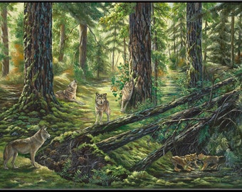 "Family of Wolves 12"" x 18"" Wolves in the Forest Print"