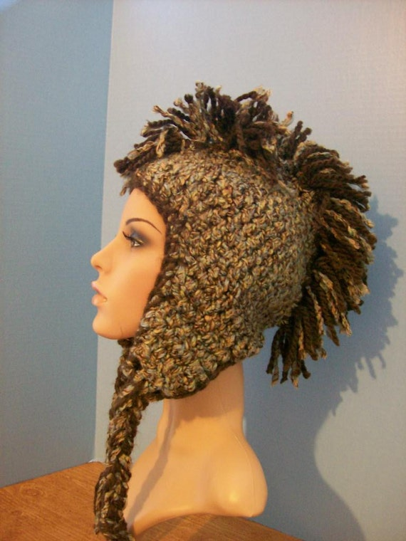 Brown Blue Tan Crochet Mohawk Ski Sknowboarding Skull Knit Hat Cap