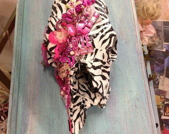 Hot Pink & Zebra Decorative Cow Skull with Pink Crystals and Jewels