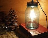 Blue Ball Rustic Cabin Lantern / Mason Jar Lamp