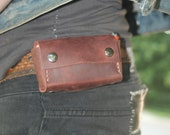 Hand stitched burgundy leather cigarette / lighter/ wallet pouch