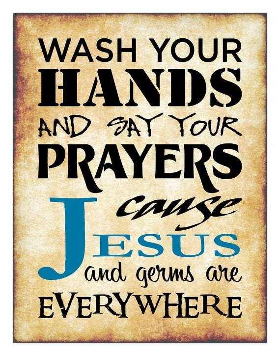 Items similar to Jesus and Germs are Everywhere, Christian Print for ...