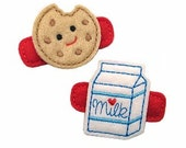 NO Slip Felt Hair Clips- MILK and COOKIE