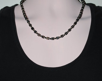 Mens Silver Plated with Black and Gray Agate Necklace