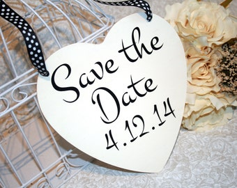 Shabby Chic Save the Date Sign Heart Signs Photography Props Enagement Pictures Rustic Wood Wedding Dog Ring Bearer Flower Girl