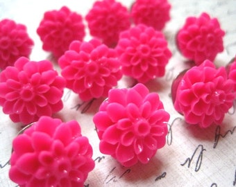 Hot Pink Pushpins... 12 pc Decorative Thumbtack Set... Flower Thumbtacks...  Housewarming Gifts, Hostess Gifts, Wedding Favors