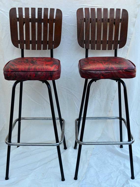 2 Slat Back Bar Stools 1960s Crazy Original Seat Covers