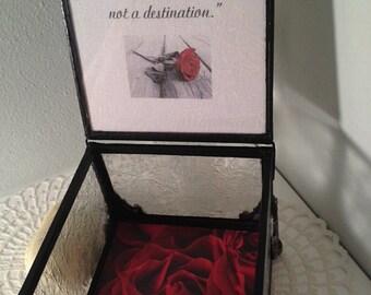 Jewelry stain glass memory/keepsake box romantic gift, shabby chic, cottage chic