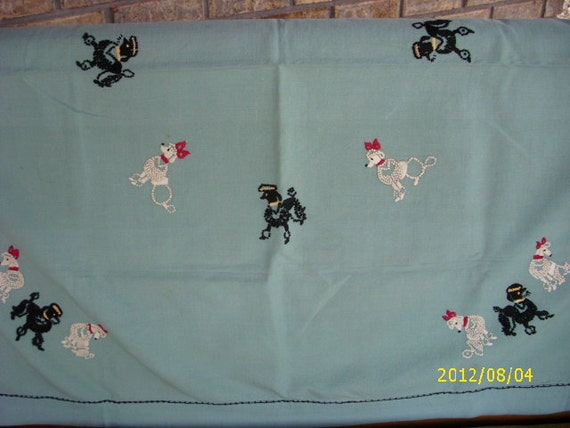 Reduced Vintage Hand Made Poodle Table Cloth