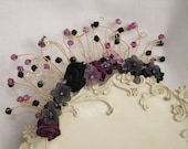 tiara,gothic,black and purple simple tiara with satin flowers & lucite flowers and beads, on a gold band